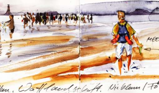 Sonne, Strand und Meer unterwegs einfach skizziert
