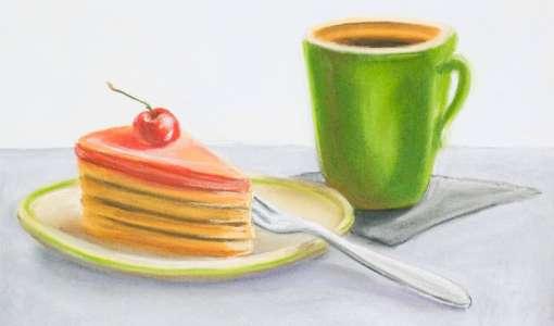 Kaffee, Kuchen, Espresso - Genuss in Pastell